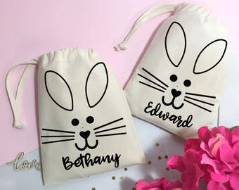 Easter gift bags etsy personalised easter gift bag cute bunny easter egg hunt bag sweets and treats bag negle Gallery