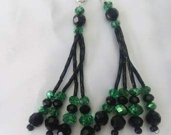 Green and Black Beaded Nipple Tassels for Burlesque Pasties
