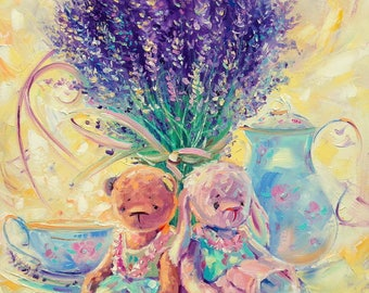Lavender painting Bright painting Original Oil painting Teddy bear Paletter knife Oil on canvas Flower Wall Decor Floral Art Gift For Her