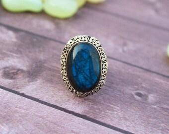 Labradorite Ring, Blue Flash Labradorite Gemstone Sterling Silver Ring, Anniversary Ring, Boho Ring, Gypsy Ring, Labradorite Jewelry