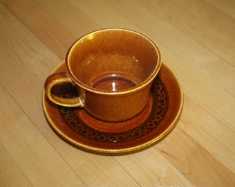 Brown Butterscotch MCP CUP SAUCER Set Stoneware with Brown Flowers Brown Scroll Mount Clemons Pottery