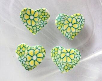 Green polymer heart bead