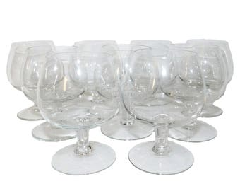 Vintage Small Miniature BRANDY SNIFTERS / Cordial Glasses - Set of 9