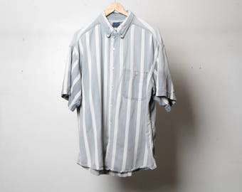 GRUNGE vintage short sleeve COLOR block oxford 90s COTTON striped  button up shirt men's size extra large oxford