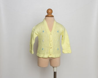 vintage 1970s baby girl's cardigan sweater | 70s yellow baby sweater