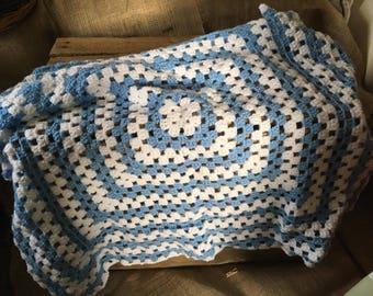 baby blue handmade crochet blanket