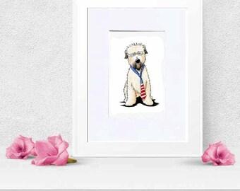 Bernie Sanders Wheaten Terrier Dog Original Art