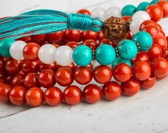Mala Necklace, Red Coral Mala - Tassel Nekcklace, Yoga Mala Beads, Tibetan Prayer Beads, Meditation Necklace