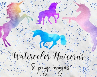 MAGICAL UNICORN, Watercolor Unicorn Graphics, Magical Unicorn Clipart, Unicorns Clip Art, 8 PNG Images, Watercolor Clipart, BUY5FOR8