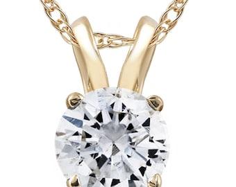 1/2ct Yellow Gold Round Diamond Solitaire Pendant 14K (G/H, I1)
