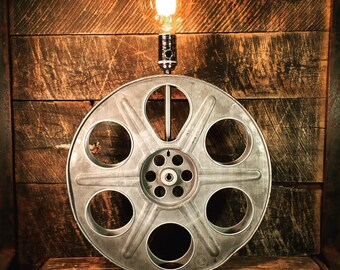 Upcycled Goldberg Film Reel Light - Industrial Lighting