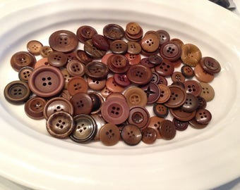 Four Hole Buttons - 100 assorted dark brown 4 hole buttons
