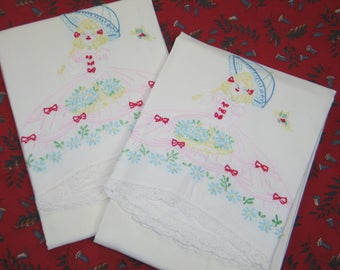 PAIR of Vintage Southern Belle Crinoline Lady-Little bo Peep- Pillowcases with Crochet Lace Tim