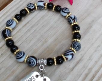 Black Cream Swirl Bead Bracelet