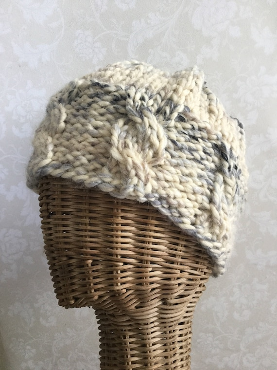 Cabled chunky cream and blue flecked winter beanie hat