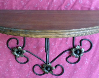 wrought iron and rustic wood shelf
