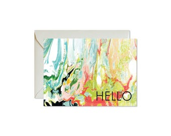 HELLO Wild Marble Notecards + Envelopes Pack | Boxed Set (8) | Abstract | Modern | Fresh