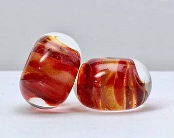 Boro lampwork glass bead earring pairs by paulbead ruby gold beads encased borosilicate handmade glass beads for jewelry making sparkle reds