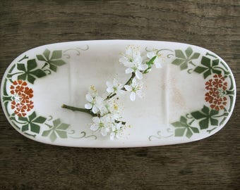 Antique french ceramic soap dish , Green floral transferware, french romantic , shabby chic soap plate