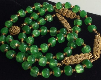 Alluring Vintage Miriam Haskell Necklace~Peridot Green Beads/Russian Gold Plated Filigree~Signed