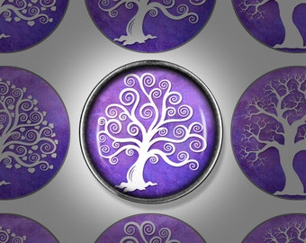 Digital Download - Purple Tree of Life - 1 inch (25mm) Round Printable images for bottlecap jewellery, pendants, and magnets