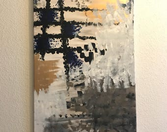 Original 24x48 Abstract Modern Canvas Painting with Acrylic, Oil and Gold Leaf