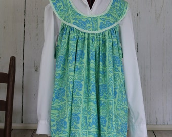 Farm smock apron, ready to ship, blue, green floral