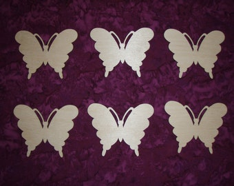 Butterfly Shape Wood Cutout 6 pieces Unfinished Wooden Ornament Artistic Craft Supply