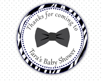 Printable Personalized Black Zebra Bowtie Baby Baby Shower Thank You Tag - Boy Bow Tie Baby Shower Favor Items