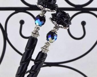 Black Rose Hairsticks   Bella Rosa   Elegant Victorian, gothic wedding, romantic goth, bone hairsticks, gothic lolita, iridescent black