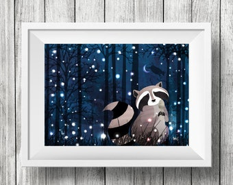 And the Raccoon Ran Away with a Spoon, Nursery Animal Wall Art, Kids room, Nursery Rhyme, Print