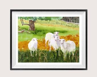 Sheep Art Watercolor Animal Print Sheep Farmland scene Wall Art Decor  WatercolorByMuren A