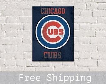 Chicago Cubs Canvas - Chicago Cubs Sign - Gift for Dad - Baseball Gift - Gift for men - Gift for him - Free Shipping