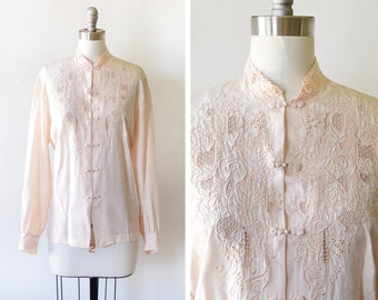 70s silk blouse, vintage 1970s embroidered Chinese silk button up shirt, pastel peach floral silk semi sheer blouse, large