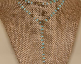 Blue Opal Cresent Drop Necklace and Choker