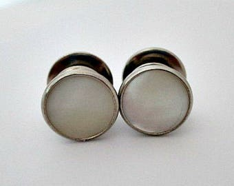 Snap Cuff Links Cufflinks - Mother of Pearl Cuff Links - Vintage Mens Unisex Jewelry - Wedding Cuff Links - Groom Groomsman Father Gift