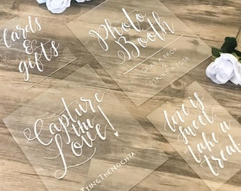 Acrylic Wedding Signs | SET OF 2 to 6 Signs | 8x10 And 5x7 Clear Sign Bundle | Wedding Sign Package | Your Text Here | Personalized Weddings