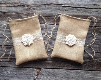 Set of 2 Dollar Dance Bags, Burlap Bags, Jute Bags, Rustic Drawstring Bag, Brides Bag, Wedding Dance Bag, Tote Bag, Burlap and Lace Wedding