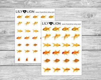 Goldfish Planner Stickers - Aquarium fish tank reminder care - erin condren happy planner plum paper bujo tn