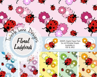 Ladybugs, Digital Paper, Papercrafting Kit, Floral Digital Paper, Daisies, Flowers, Six A4 Pages, Digital Paper Pack, Backing Paper, Crafts