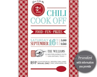 Chili Cook Off Invitation --- Personalized Printable --- #C550-I