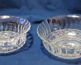 Set of 2 KIG Malaysia Pressed Glass Bowls