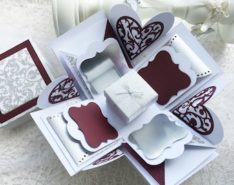 Exploding Box Silver, Plum and White perfect for Bridal Shower or Anniversary, Explosion box, Love box, Photo box