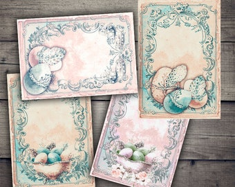 Shabby Chic Easter Papers - Digital Collage Sheet Printables