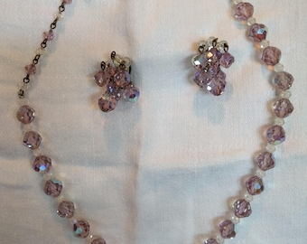 Lavender and Clear Rhinestone Necklace and Clip Earrings, Costume jewelry, Sparkle, Glitter, Vintage, Gift