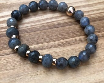 Bracelet, gold plated, sterling beads gemstones and labradorite, chic