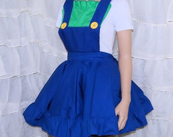 Luigi Green Blue Plumber Pinafore Apron Costume Skirt Adult ALL Sizes - MTCoffinz