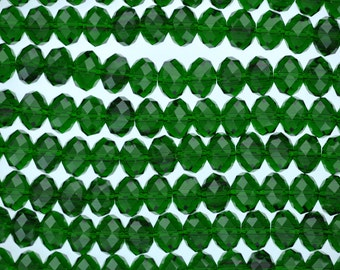 6mm EMERALD GREEN Faceted Glass Crystal Rondelle Beads, transparent crystals, about 60 beads, bgl1312