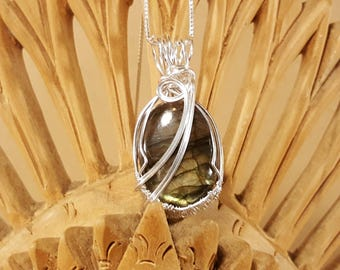 Labradorite Cabochon Sterling Silver Wire Wrapped Pendant Necklace