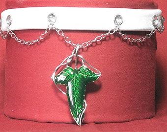 LOTR Aragorn Elven Leaf Leather Choker